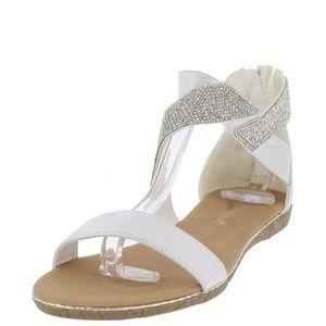 White Rhinestone Flat Sandals